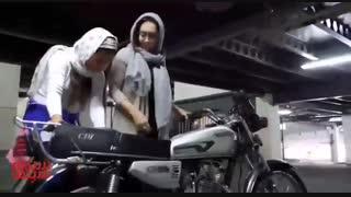 موتور سواری نیکی کریمی برای فیلم «آذر»