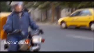 پشت صحنه موتورسواری نیکی کریمی در فیلم سینمایی «آذر» ساخته محمد حمزه ای