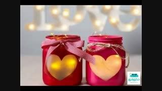 استفاده از شیشه های مربا در تزئینات ولنتاینی