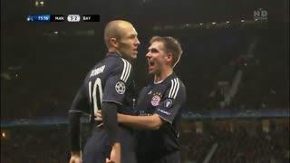 گل آرین روبن به منچستر یونایتد در لیگ قهرمانان اروپا 2010-2009