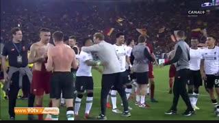 پایان بازی و جشن صعود بازیکنان لیورپول به فینال