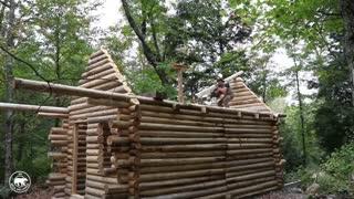 تایم لپس ساخت کابین چوبی در جنگل