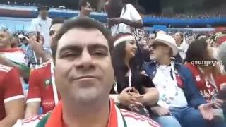 حضور ابی و همسرش مهشید در بازی ایران و مراکش ( 2 )