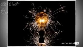 عکاسی از لامپ با اسپارکل