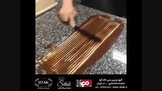 نحوه ساخت رول شکلات و استفاده از پالت قنادی برای تزئین کیک ( شرکت سی تاک )