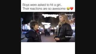 واکنش پسربچه ها  وقتی بهشون میگی یه دخترو بزنن
