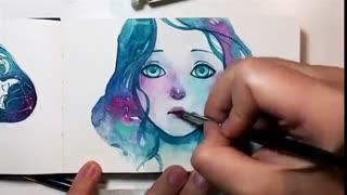 Speed drawing رنگ امیزی حرفه ای با ابرنگ