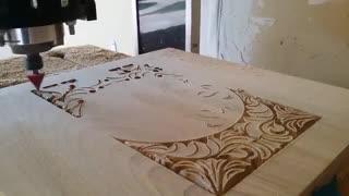 حکاکی طرح گل روی چوب با CNC
