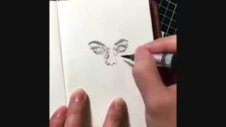 آموزش نقاشی سیاه سفید با ماژیک