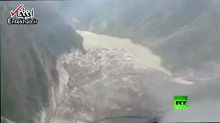 به وجود آمدن دریاچه، بر اثر رانش زمین در چین!
