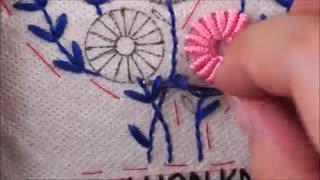 گل bullion knot stitch