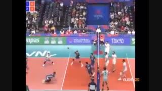 رفت و برگشت های نفسگیر توپ در مسابقه والیبال ایران - آرژانتین