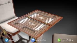نیم ست شطرنج و تخته نرد صادراتی شلفیکس  - دست ساز و ساخته شده از چوب راش